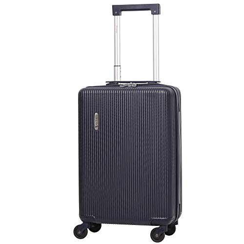 5 Cities Lightweight ABS Hard Shell Carry On Cabin Hand Luggage Suitcase with 4 Wheels, Approved for Ryanair, Easyjet, British Airways, Virgin Atlantic and More (Navy)