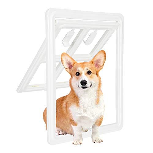 Puerta con mosquitero para mascotas Pantalla corrediza Puerta para perros Puerta para mascotas con cerradura para gatos pequeños Perros con solapa magnética para puerta exterior(Small-Blanco)