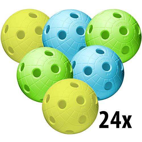Unihoc Floorball Unihockey Ball Crater / CR8ER 24er Team Set, Color Mix, offizieller Wettkampfball Trainingsball mit IFF Zertifikat für geprüfte Qualität