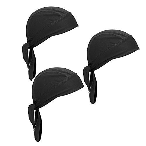 Wisolt Gorra de calavera, paquete de 3 gorras que absorben el sudor, gorro deportivo, ciclismo, motociclismo, equitación, transpirable, bandana para hombres y mujeres