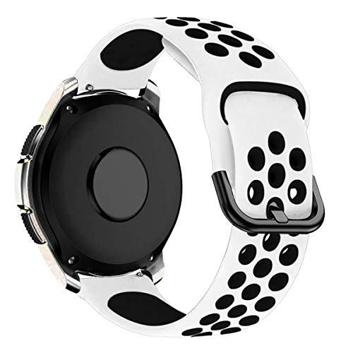 MroTech Silikonarmband 20mm kompatibel für Samsung Galaxy Watch 42MM/Active 2/Active2 40mm/44mm Armband Silikon Uhrenarmband Ersatz für Huawei GT 2 42MM/Vivoactive 3/Vivomove HR Band Weiß/Schwarz