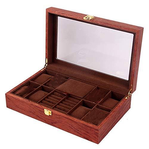 Domilay Caja de Reloj Mejorada, Soporte del Organizador de Joyas Caja de ExhibicióN de Joyas Organizador de Almacenamiento de Pendientes con Cristal Superior, B