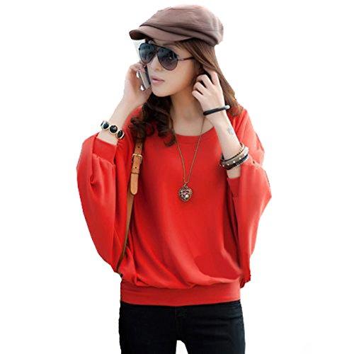 Mississhop 51-42 Japan Style Damen Batwing Shirt Longshirt Tunika Bluse Pulli Rot S