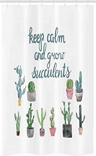 ABAKUHAUS Blijf rustig Douchegordijn, Grow Succulents Pot van de installatie, voor Douchecabine Stoffen Badkamer Decoratie Set met Ophangringen, 120 x 180 cm, Dark Cadet Blue White