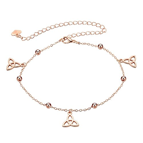 Bishilin Gold Plated Charm Ladies Anklets Celtic Knot Pendant Ankle Chain Boho Beach Chain Rose Gold