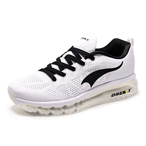 ONEMIX Hombres Zapatillas Deporte Running Aire Libre Respirable Zapatos para Correr Gimnasio Sneakers 1118B Blanco Negro 43