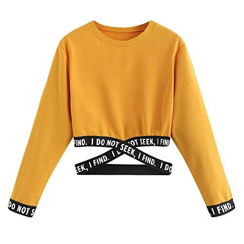 ZZXIAN Sweatshirt Damen Gelb Langarm Outerwear Pullovers Hoodie Sweatjacke Damen Bedrucken Kapuzenpullover Kurz Pulli Bedrucken Tops Blouse Casual (S(EU34), Gelb)