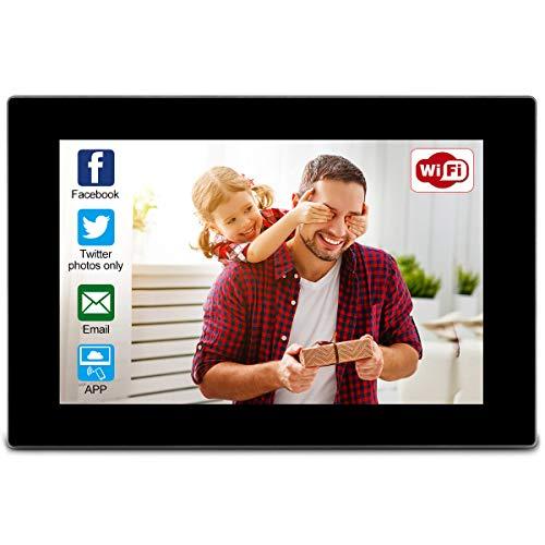 WiFi Digitaler Bilderrahmen, WLAN Bilderrahmen Touchscreen 10 Zoll integrierter 16GB-Speicher Bilder und Videos von Facebook, Twitter, OurPhoto App und Emails