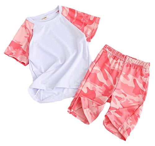 Coralup Jungen Mädchen Bekleidungssets Kinder Sport Outfit Set Camouflage Tops + Shorts 2 Stück 4 Farben 2-13 Jahre Gr. 12-13 Jahre, rose