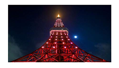 Douqoomer Led Wandbild 40X60 cm Mit Ca -Eiffelturm- Leinwand Beleuchtet Mit Normalen Und Farbwechsel LEDs
