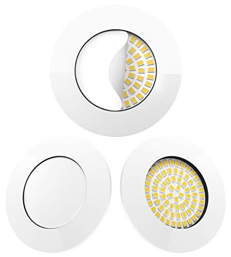 Scandinavian home 3er Set LED Einbaustrahler Weiß 60mm - 70mm I Badezimmer geeignet I warmweiß 230V CRI 90 5W 500lm 3000K I mit Milchglas I LED Spot Deckeneinbauleuchte 68mm flach