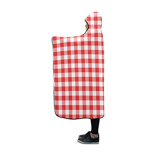 YXUAOQ Decke mit Kapuze Red Gingham Texture Rhombussquares Blanket 60 x 50 Zoll Comfotable Hooded Throw Wrap
