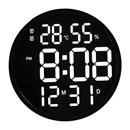 FLAMEER Calendario Digital despertador de día, pantalla grande de 12', para personas con visión reducida, para escritorio, montado en la pared, con Control - Marco negro
