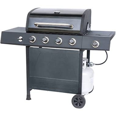 RevoAce 4-Burner LP Gas Grill with Side Burner, Pewter Fleck