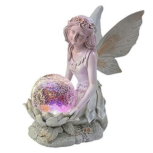 Figura decorativa de jardín de hadas para exteriores con luces solares, de resina, impermeable, con bola de cristal de Crakle, para decoración de patio o patio