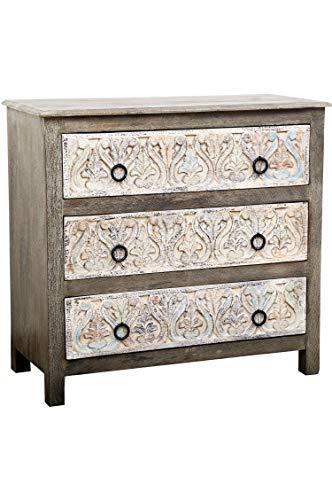 Oosterse commode Sideboard Ashok 97cm grijs wit | Orient vintage commodekast oosters met de hand versierd | Indiase landhuis dressoir van hout | Aziatische meubels uit India