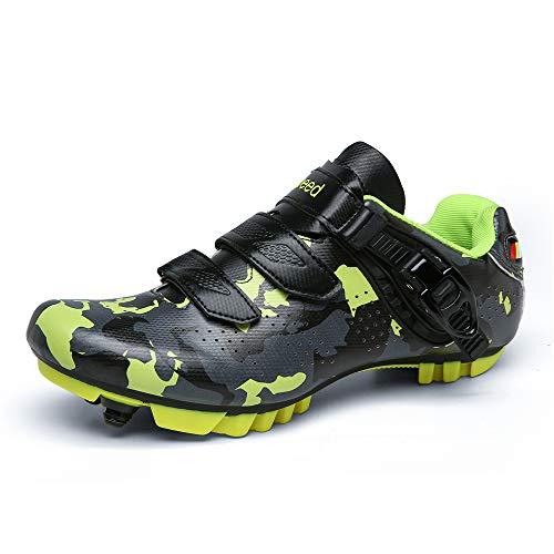 Zapatillas profesionales de ciclismo de carretera para hombre MTB SPD Freestyle Zapatos de bicicleta con tacos masculinos giratorios zapatos de ciclismo, color Verde, talla 42 1/3 EU