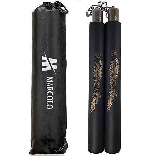MARCOLO Training Equipment Safety Foam Martial Art Sticks with Swivel Chain for Kids & Beginners Practice and Training (One Pack + Bag)