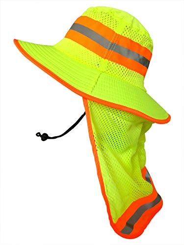 Men High Visibility Reflective Sun Hat with Neck Flap Wide Brim Boonie Hat Bucket Cap (1pc Neon Lime)