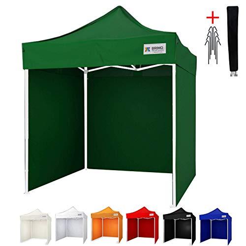 Party zelt Exclusive BRIMO ® Komplett 3 volle Wände + 8 Verankerungsdübel und Schutzhülse Gratis! (2x2m, Grün)