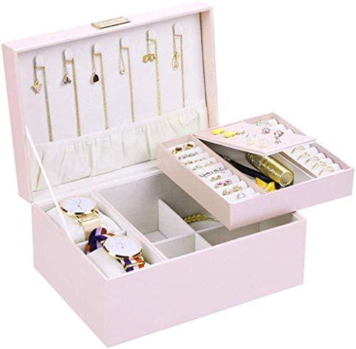 JOMOSIN SNH0216 Caja de almacenamiento de gran capacidad, simple, doble capa, práctico almacenamiento de escritorio para pendientes, collar, anillo, reloj, acabado de almacenamiento, color rosa