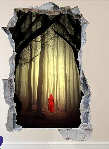 MXLYR Pegatinas de pared The Red Riding Hat 3D Art Poster Mural Decoración en la oscuridad Etiqueta de la pared