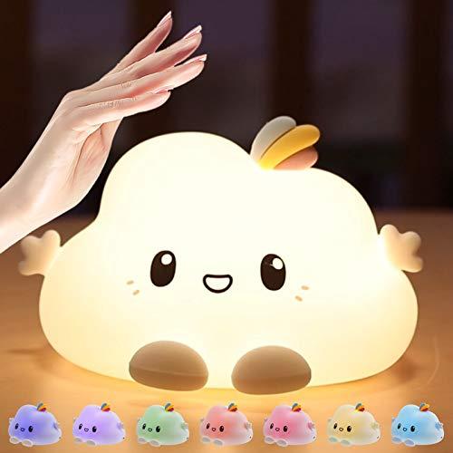 Luz nocturna LED para niños – USB recargable con control táctil de silicona para guardería con luz blanca cálida y 7 modos de respiración para niños y bebés