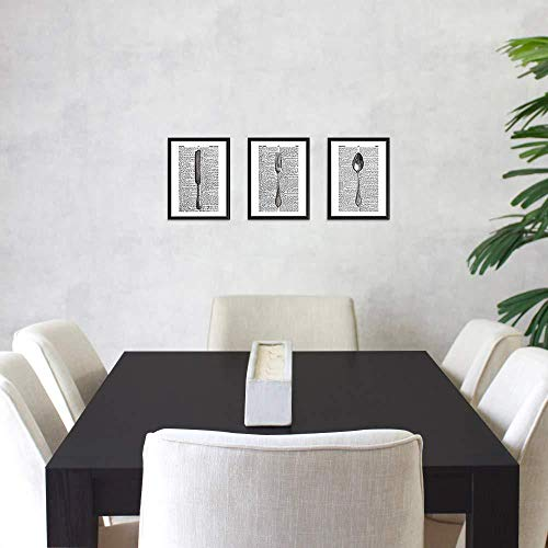 Gabel Messer Löffel Drucke Und Poster Auf Wörterbuch Papier Seite 3D Wandkunst Für Esszimmer Set Von Drei Ungerahmt