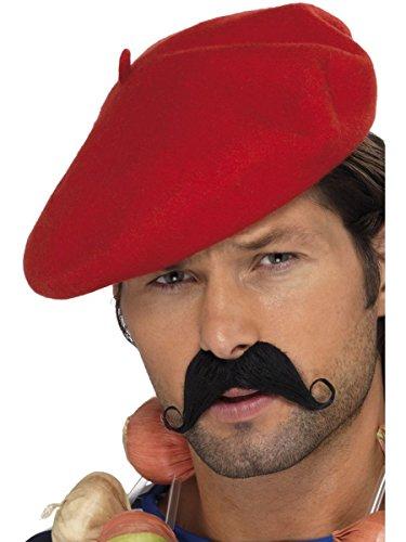 Smiffys Kostüm Zubehör Baskenmütze in rot Franzose Karneval Fasching