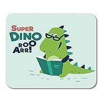 マウスパッド快適で滑りにくいドラゴン動物かわいい恐竜読む本面白いティラノサウルス恐竜ライブラリマウスマットマウスパッド快適で滑りにくい