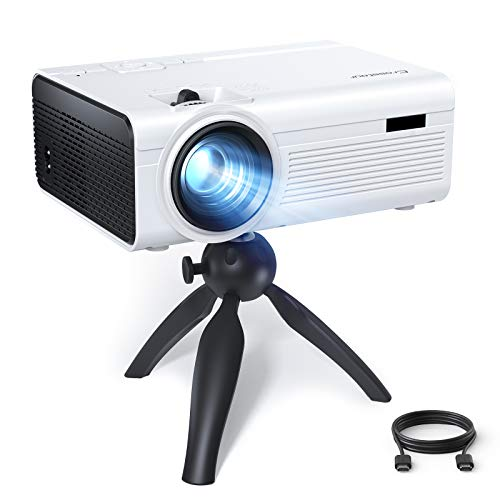 Portable Projector, Crosstour Mini Projector with Tripod, Home Movie Theater, HD Video Projector with 55,000 Hrs LED Lamp Life, Compatible with HDMI, RCA, USB, TF, TV Stick, PS4, Chromecast
