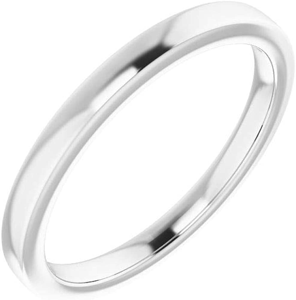 Solid 18K White Gold Curved Notched Wedding Band for 11mm Round Ring Guard Enhancer - Size 7