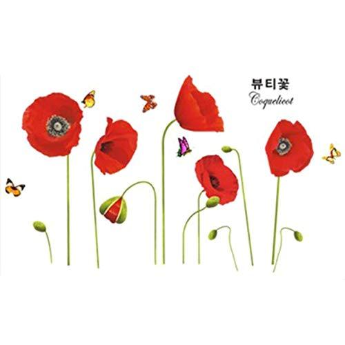 yanqiu Nieuwste Rode Papaver Bloemen Verwijderbare Transparante muur Art Stickers Home Achtergrond Decoratie