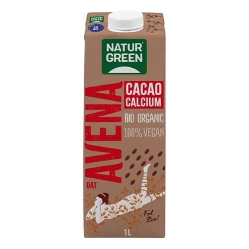 NaturGreen - Cacao Calcium Bio, Bebida de Chocolate Ecológica, Bebida Vegetal de Avena, Ingredientes de Agricultura Ecológica - 1 L - Pack 6 unidades