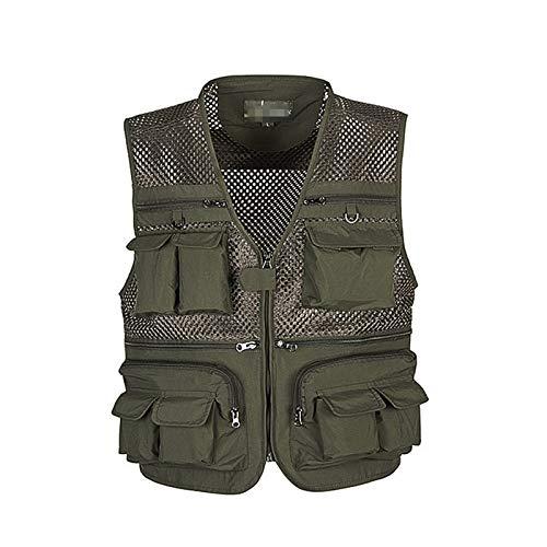 CNBPLS Chaleco de malla transpirable para hombre, chaleco de carga con múltiples bolsillos, para trabajo al aire libre, safari, pesca, viajes, fotos, color verde militar, L