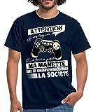 Citation Manette Jeux Vidéo T-Shirt Homme, L, Marine