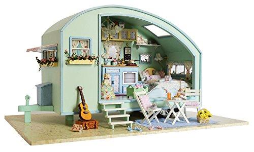 Cuteroom Dolls House Kits, Diy Wooden Dolls House Handcraft Miniature Kit-Caravan ? Time Travel Model & Furniture