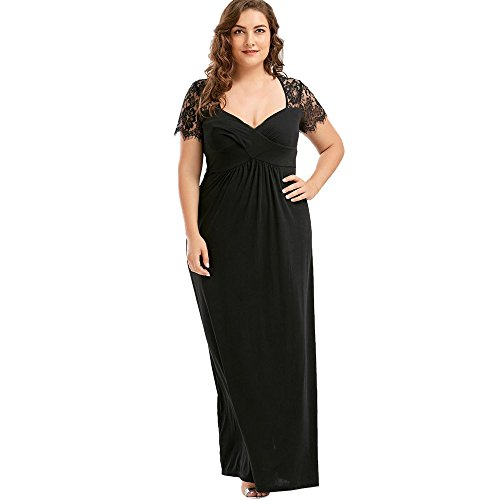 MIRRAY Damen Spitze Abendkleider Kleider Kurze Ärmel Cocktailkleid Maxi Kleid (Schwarz,5XL)