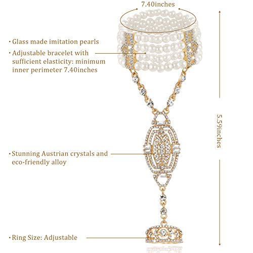 BABEYOND The Great Gatsby Inspired 1920s Flapper Bracelet Ring Set Austrian Crystals Imitation Pearl (Golden)