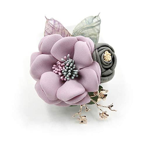 XZFCBH Trendy Romantische Zoete Stof Bloemen Broches Broche Pin Sjaal Lapel Pins Badge Sjaal Gesp Vrouwen Accessoires