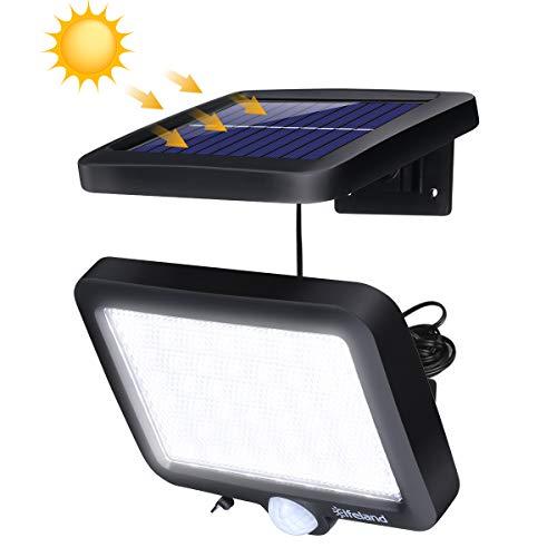 Elfeland Solarleuchte für Außen, Solarlampe mit Bewegungssensor, IP67 Wasserdicht 350lm 6000K Solar Wandleuchte, 56 LEDs Solarlicht Sicherheitswandleuchte für Garten, Wände, Deck, Hof, Veranda