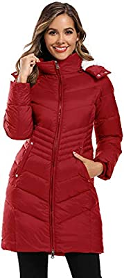 Caistre Women's Thickened Hooded Maxi Down Jacket Outwear Puffer Down Coats WineRed XXL