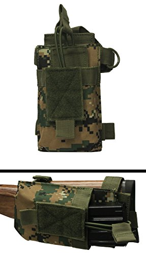 Ultimate Arms Gear Tactical MOLLE PALS Strap Mounted Military Magazine Mag Ammo Pouch Holder Carrier With Stock Buttstock Adapter , Marpat Woodland Digital Camo