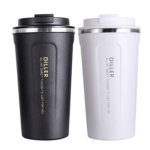 Diller Tazze da Viaggio per caffè Thermos Termica Inox 450ml/350ml Voyages Classic IT8768 (450ml, Bianco)