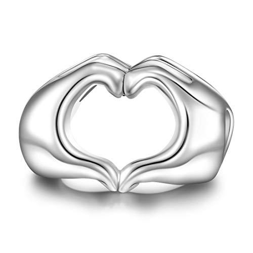 Damen Sterling Silber Charm Herz Liebe Herz Hand Form Bead Charms für Pandora Armband
