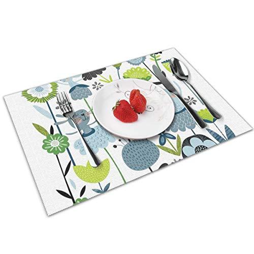 Dingl Bloem Ballerina's Placemat Wasbaar Antislip Voor Keuken Diner Tafelmat, Gemakkelijk te reinigen Placemat 12x18 Inch Set Van 4
