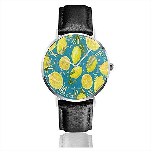 Vintage Fruit Lemon Yellow Leather Bands Cronógrafo Reloj de Cuarzo analógico Resistente al Agua Reloj Reloj de Pulsera