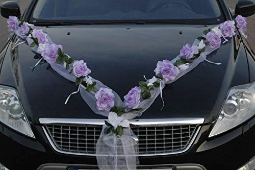 ROSEN GIRLANDE Auto Schmuck Braut Paar Rose Deko Dekoration Autoschmuck Hochzeit Car Auto Wedding Deko PKW (Rose Orchidee Lila/Reinweiß)