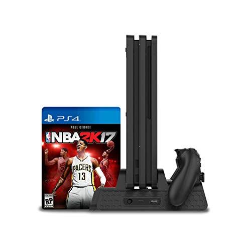 KONKY PS4 Ventola di Raffreddamento con Dual Stazione di Ricarica Supporto Verticale per Playstation 4, PS4 Pro, PS4 Slim e 12 Slot Game Storage , Caricabatteria per PS4 Accessori