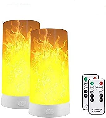 Led Flame Effect Light, Usb Rechargeable Flame Table Lamp Waterproof USB Rechargeable Flickering Flame Lantern with Remote fo